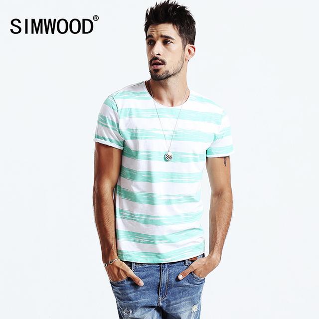 Simwood 2016New Verão Homens casual-shirt Moda camisa Listrada de Algodão O-pescoço T-shirt dos homens de manga curta TD1115