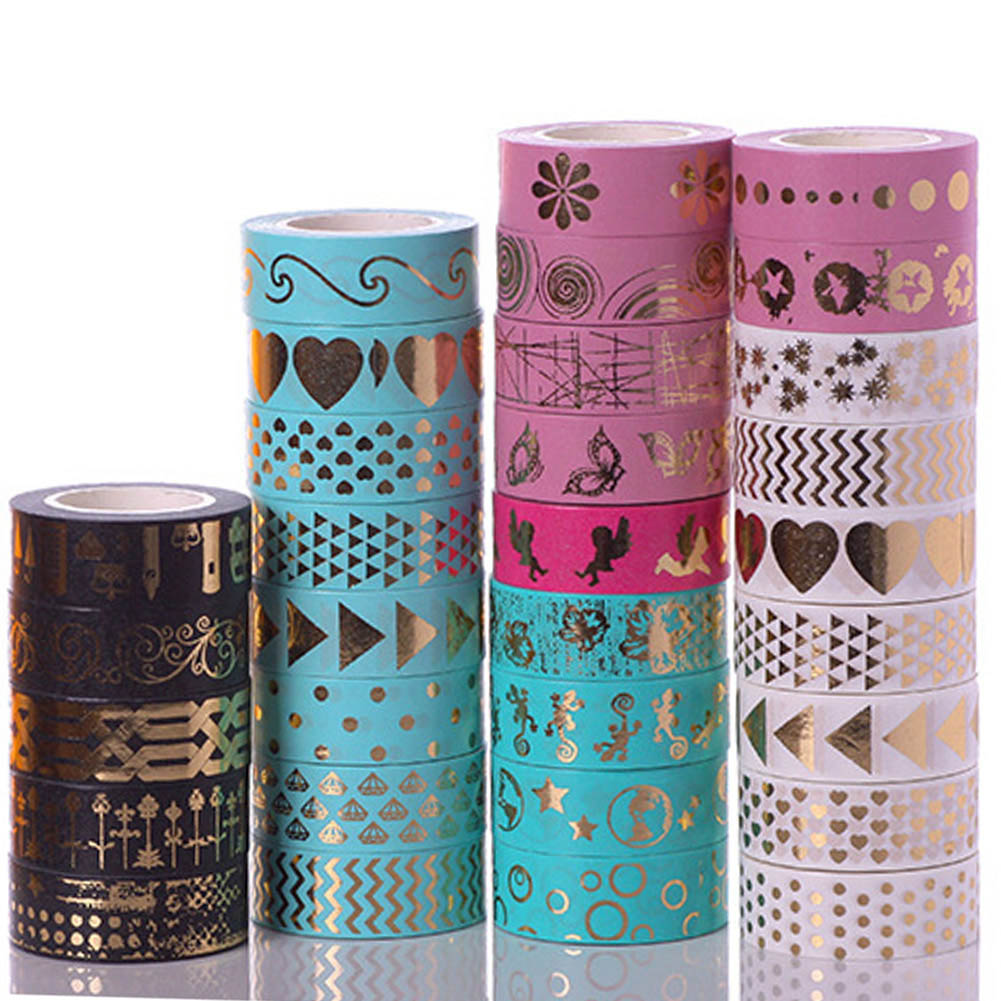 1Pc 15mm*10m Kawaii Scrapbooking Tools DIY Stripes Gold Pink Blue  Japanese Paper Foil Washi Tapes Masking