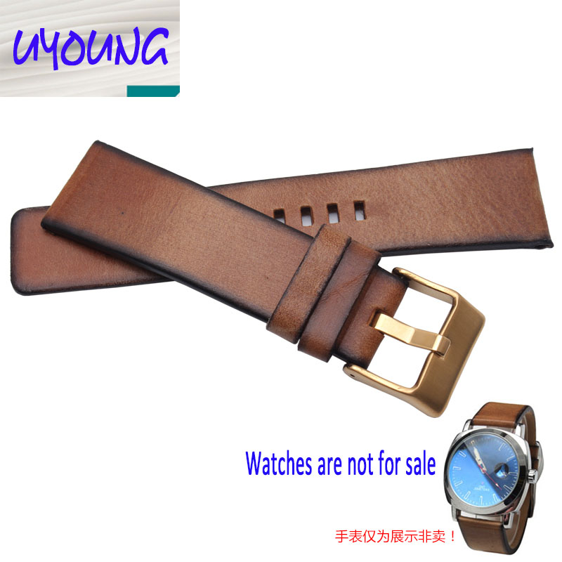 Youyang Plain Leather Watchband adapter DZ1399 DZ4280 DZ4290 24mm Diesel watch strap Retro Brown