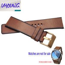 Youyang Llanura adaptador DZ1399 Correa de Cuero correa de reloj Retro Brown DZ4280 DZ4290 24mm Diesel