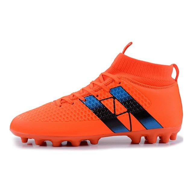 97f7fd84ed5 Men High Ankle Soccer Shoes Outdoor Football Boots With Spikes Socks for Men  FG Soccer Cleats Botas De Futbol Von Tobillera