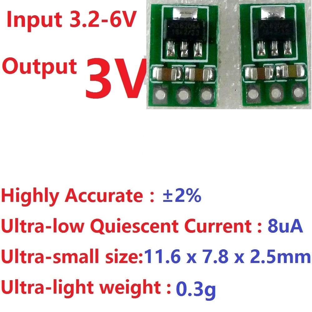 2 шт., понижающий источник питания 3,3-6 в до 3 в, плата регулятора напряжения для сухих аккумуляторов 18650 Li-Ion AAA