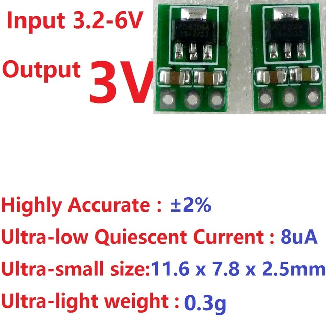 2x 3.3-6V to 3V DC-DC Step-Down Power Supply Buck LDO Module Voltage regulator Board for 18650 li-ion AAA Dry cell batteries
