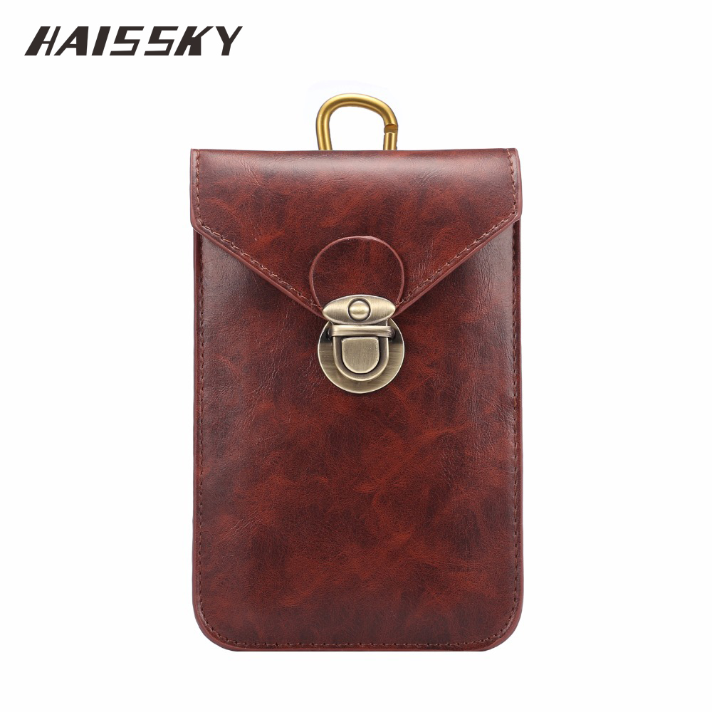 Haissky Mobile Phone Leather Bag For Samsung S8 Plus 5.5-6.0 inch Waist Pouch Case for iphone 7 Plus huawei P9 Plus Cover Pouch