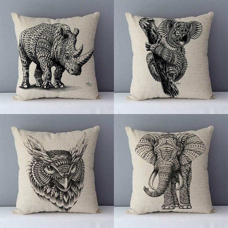 Simply Pastoral Couch Cushion Home Decorative Pillows Elephant Kola Elk Printed Animals Pillowcase 45x45cm Cotton Linen Cushions