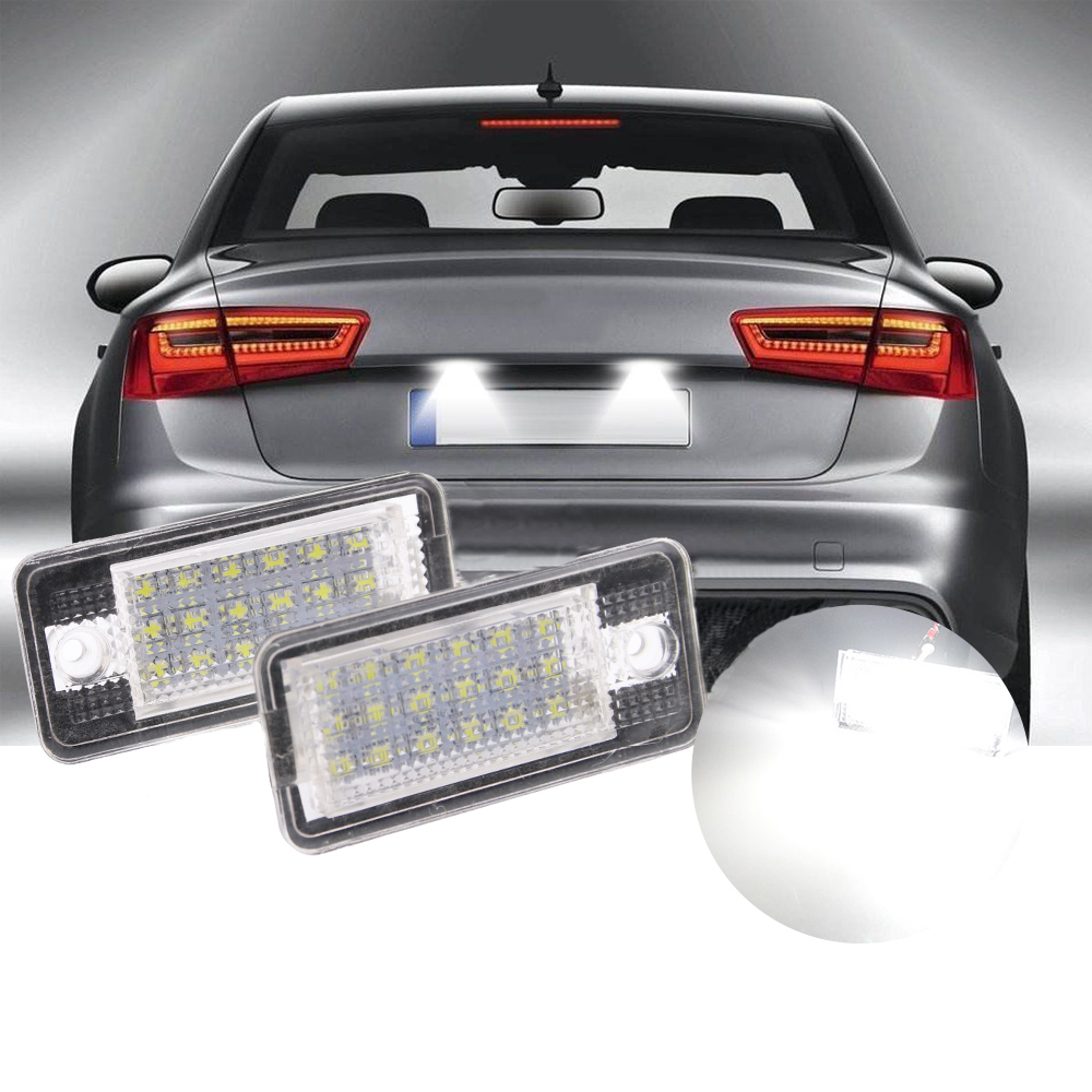 Canbus No Error LED License Number Plate Light Fit Audi A3 A4 A6 A8 B6 B7 S3 Q7 2pcs car error free 18 led license number plate light white lamp for audi a3 s3 a4 s4 b6 b7 a6 s6 a8 q7