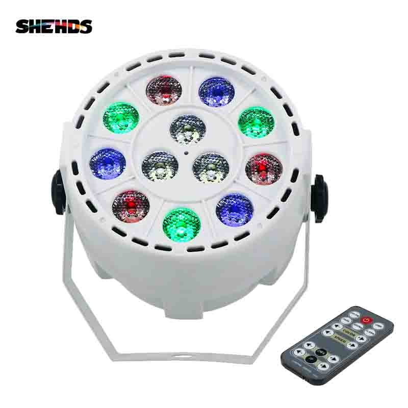SHEHDS Remote Control 12x3W RGBW LED Slim Flat Par Stage Light With DMX512 For Lamp Disco DJ Projector Party Stage Lighting