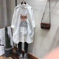 2018 small fresh cotton and linen shirt tide new loose cartoon long paragraph wild long sleeved female printing shirt