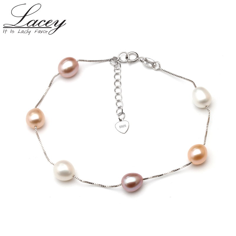 Real natural pearl bracelet for women,freshwater pearl chain link bracelet jewelry wedding 925 silver charms bracelet gift