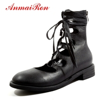 AnmaiRon Fashion Motorcycle Boots Round Toe Women Boots 2018 Genuine Leather Spring/Autumn Macvise 2018 Big Size 33 43 LY375