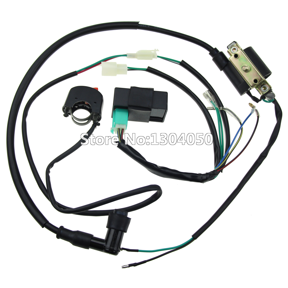 Complete Kick Start Engine Wiring Harness Loom CDI Box Ignition Coil Kill Switch 50 70 90 110 125 140cc PITPRO Pit Dirt Bike ATV
