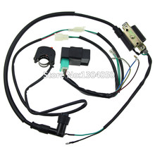 complete kick start engine wiring harness loom cdi box ignition coil kill  switch 50 70 90 110 125 140cc pitpro pit dirt bike atv