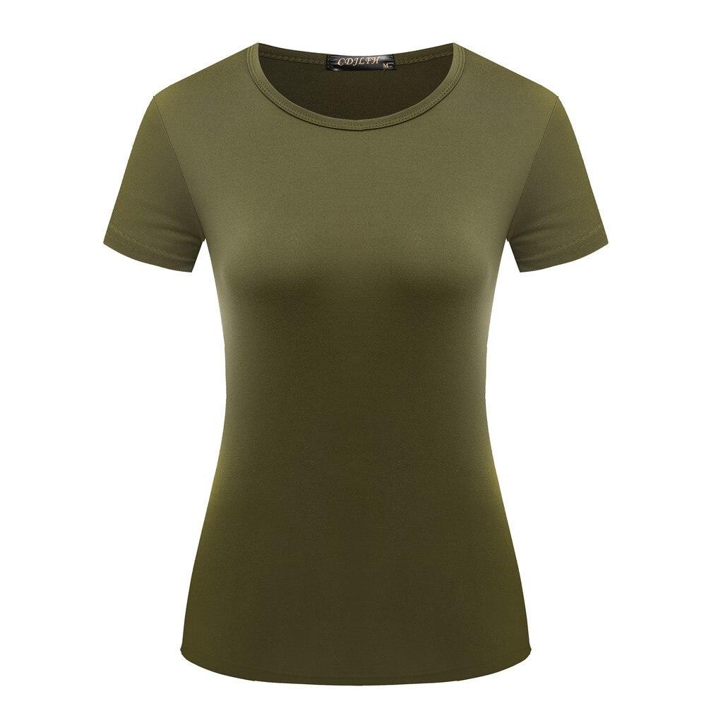 Hohe Qualität Plus Größe Solide T-Shirt Frauen Baumwolle Elastische Grundlegende T-shirts Weibliche Casual Tops Kurzarm T-shirt Weibliche Tops