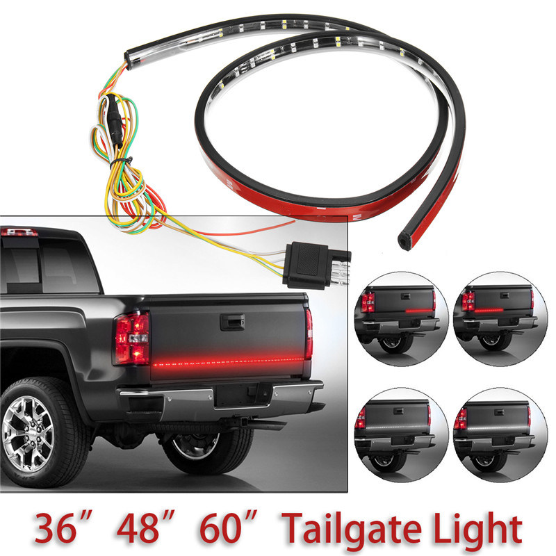 90/120/150cm Flexible Tailgate LED Light Bar Strip Red/White Trailer Rear Tail Light Strip DRL Turn Signal Light Brake Lights car tail gate signal turn brake led strip light 49 inch 72smd door light strip 12m for pick up truck ip65 waterproof 2 5w lights