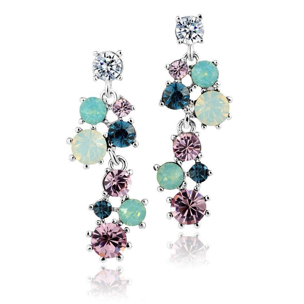 DORMITH women s high quality Austrian Crystal Multi colors flowers drop earrings for women jewelry