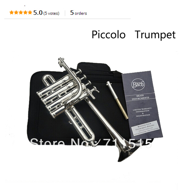 Cheap Bach Bb Piccolo Trumpet B Flat Silvering Plated Exquisite Durable Trompeta Stainless Steel with Durable Mouthpiece Gloves Box