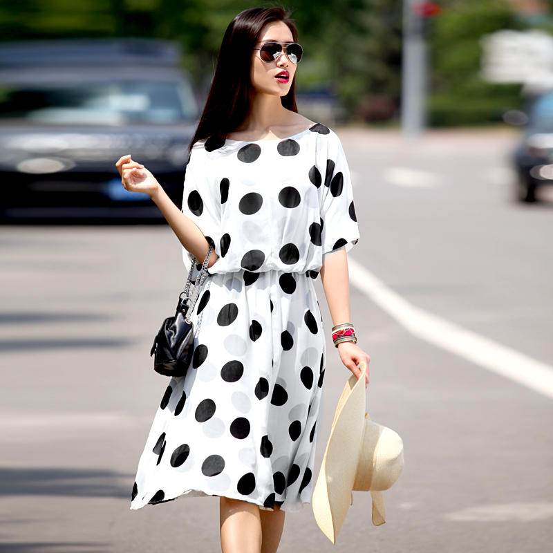 Women Summer New Customize Made Plus Size 3XS-10XL Elegant Casual High  Waist Polka Dot Print Knee Length A Line Chiffon Dresses e436aa4f3da7