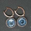 Vintage Earrings Gemstone Solid 14Kt Rose Real Gold Diamond Earring With Blue Natural Stone For Sale  E06