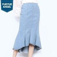 Spring Irregular Long Skirts Women Top Elegant High Waist Ruffles Denim Wrap Skirt Brand Solid Blue Side Zipper Office Skirt