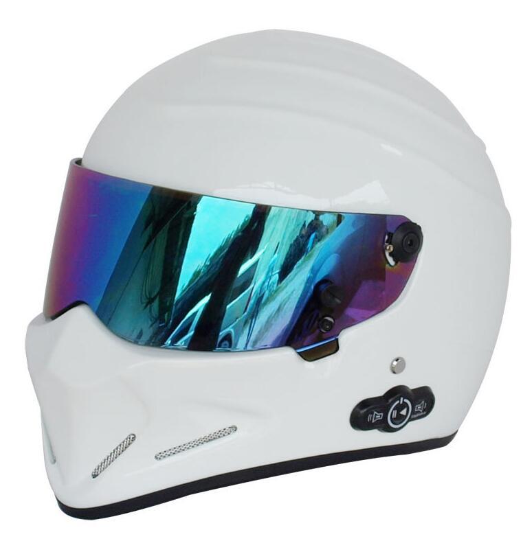 Kart moto casque intégral casque quatre saisons kart course verre fibre de verre bluetooth casque moteur ATV-4 blanc noir