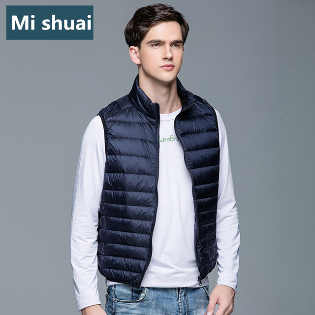 8 Color New 2016 Winter Down Vest Men Stand Collar Ultralight Thin Sleeveless Jacket Waistcoat 90% White Duck Down Plus Size