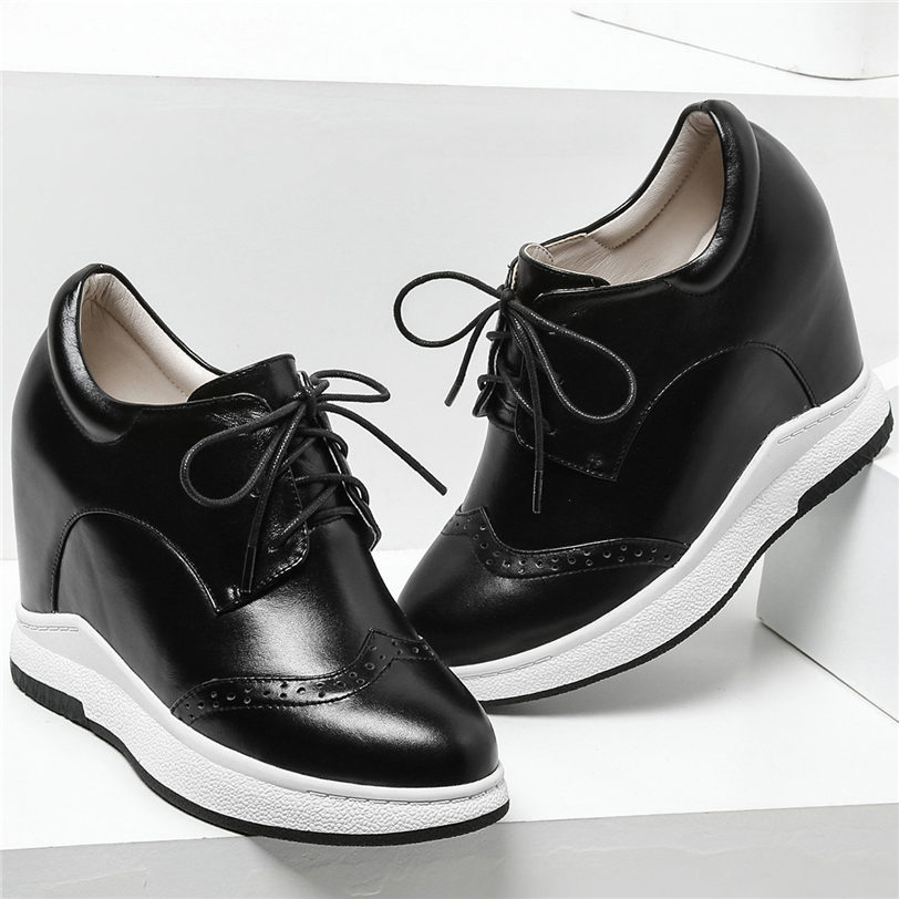 Punk Oxfords Women Lace Up Tennis Shoes Cow Leather Wedges High Heel Ankle Boots Breathable Trainers Platform Pumps