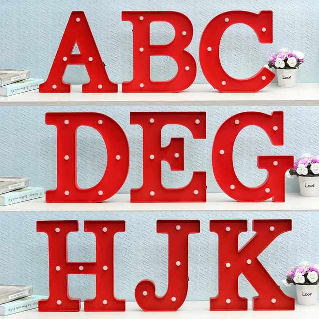 Wall Lamp Led Night Light Kids Marquee Letter Lights Vintage Alphabet Up Christmas Party