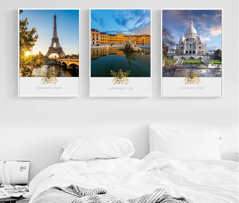 European Royal Court Tower 3 Pieces Decorative Painting Wall Art Print Picture Canvas Painting for Living Room No Framed