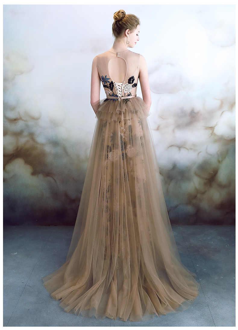 Robe De Soiree вечернее платье Длинные 2019 тюль с кружевными аппликациями невесты банкет Abiye Длинные Выпускные платья