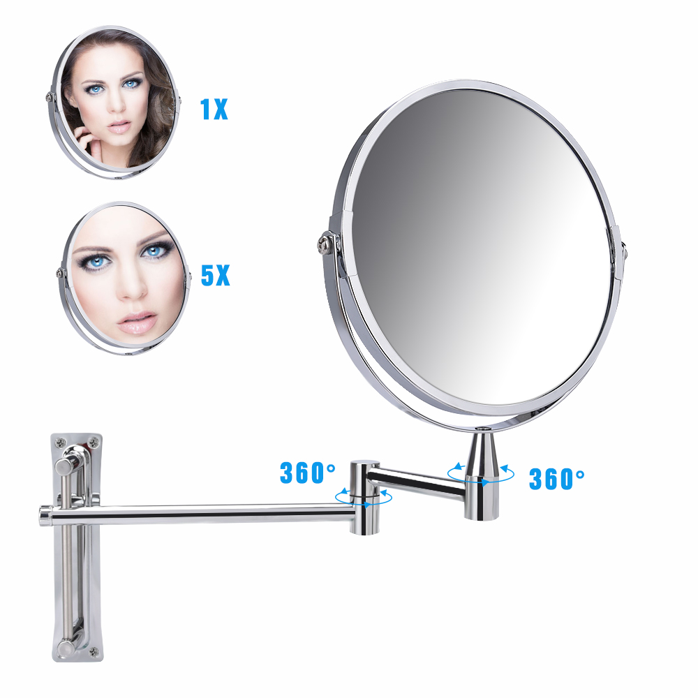 7 Inch Bathroom Wall Mirrors 1x 5x Magnifying Vanity Mirror for Living Room Adjustable Bath Cosmetic Makeup Shaving Mirror