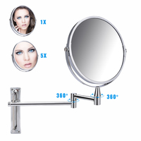 7 Inch Bathroom Wall Mirrors 1x 5x Magnifying Vanity Mirror for Living Room Adjustable Bath Cosmetic Makeup Shaving Mirror
