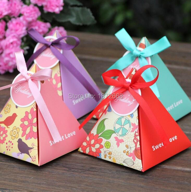 Size S Bird Flower Candy Chocolate Paper Gift Box For Wedding