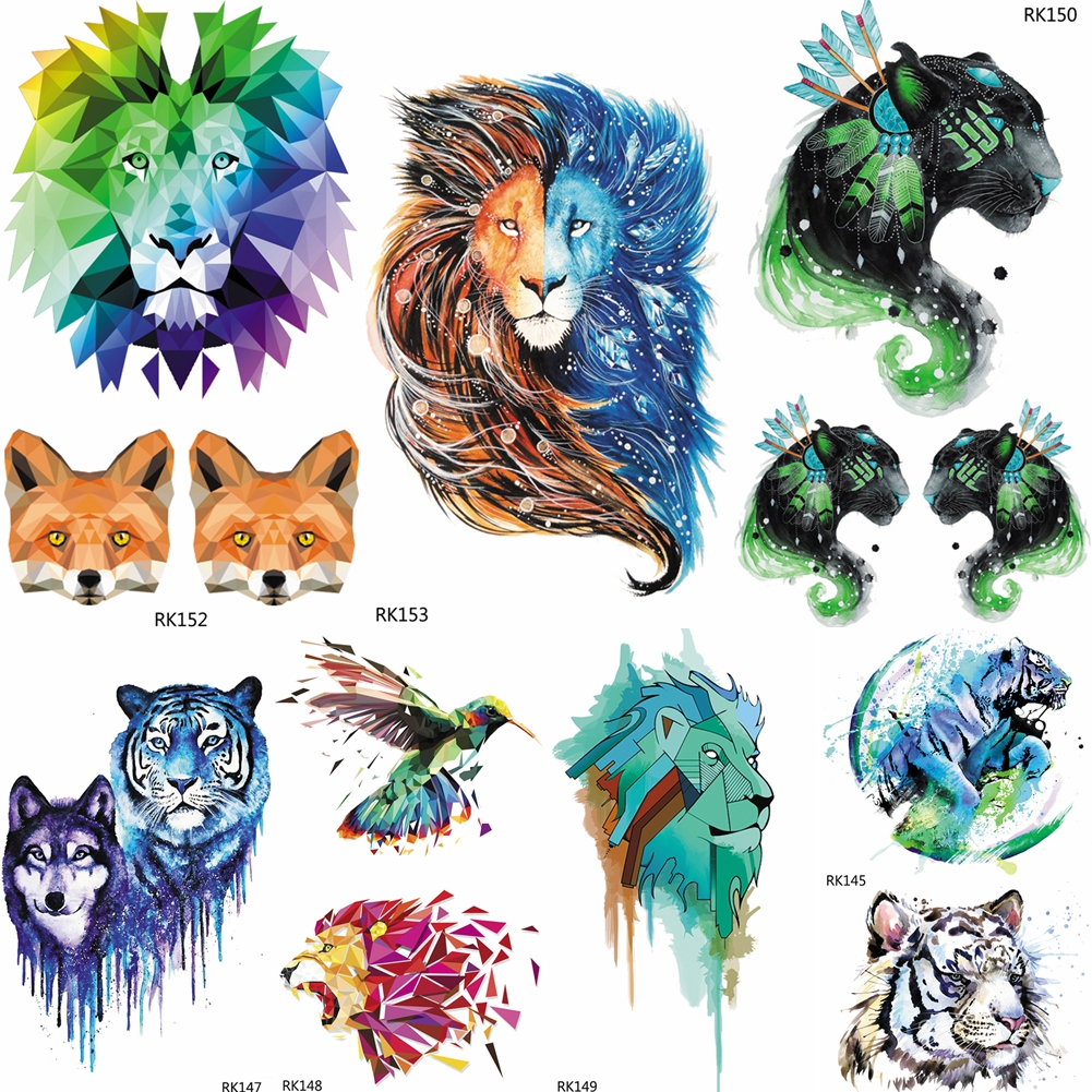 OMMGO Galaxy Watercolor Geometric Lion Tribal Leopard Temporary Tattoo Sticker Men Tattos Body Art Flash Fake Children Tatoo