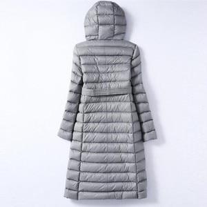 Image 3 - Sanishroly 2018 White Duck Down Jacket Tops Women Sashes Long Ultra Light Down Coat Parka Female Hooded Outerwear Plus Size 288