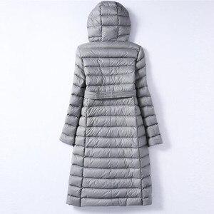 Image 3 - Sanishroly 2018 biała kurtka puchowa topy kobiety skrzydła długie Ultra Light dół płaszcz Parka kobiet kurtka z kapturem Plus rozmiar 288