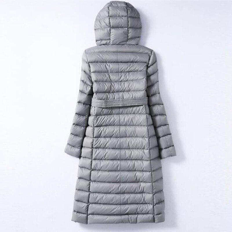 Image 3 - Sanishroly 2018 duvet de canard blanc hauts femmes ceintures Long  Ultra léger duvet manteau Parka femme vêtements dextérieur à capuche  grande taille 288Doudounes longues