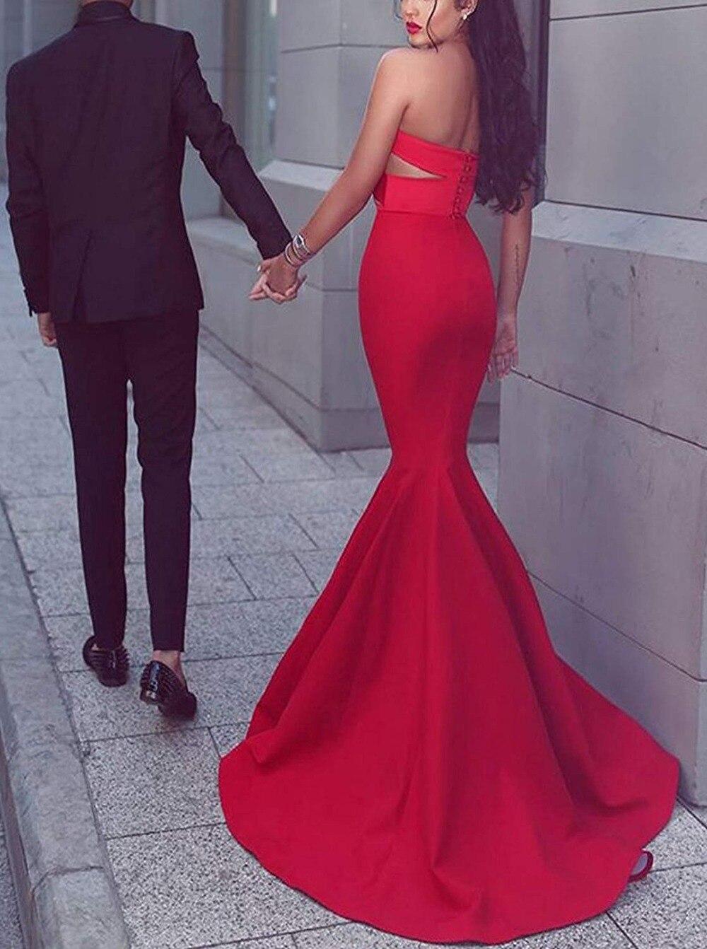 JaneVini vestido de fiesta de sirena rojo árabe 2018 escote corazón largo vestidos de dama de honor Sexy Dubai botón señora Formal vestido - 3