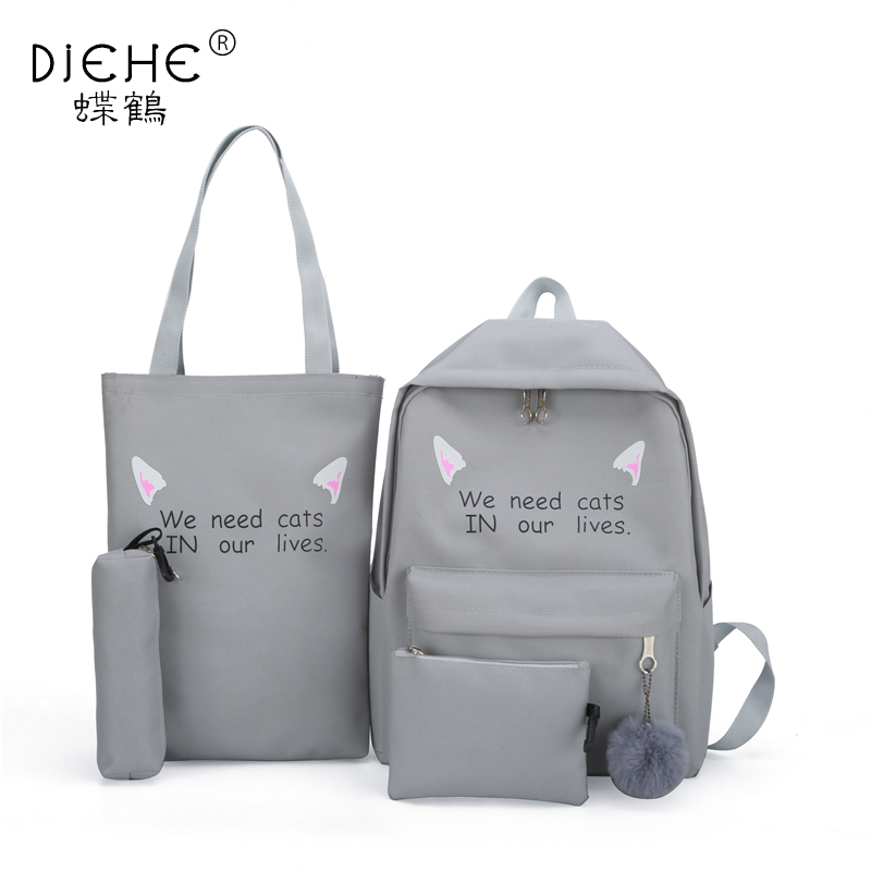 4 Sets Women Nylon Bagpack Man Softback Solid Bag Soft Handle Mochilas Mujer Escolar Rucksack School Bag For Teenager Girls