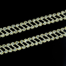 10Yards Silver Gold Base Sewing Metal Rhinestone Crystal Trimmings Chains Sew On Crafts