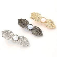 Pearl Hair Clip for Women Elegant Leaves Pearl Korean Design Snap Barrette Stick Hairpin Hair Styling Accessories Drop shipping ubuhle fashion women full pearl hair clip girls hair barrette hairpin hair elegant design sweet hair jewelry accessories 2019