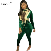 Liooil Green Velvet Rompers Womens Jumpsuit Sexy See Through Appliques Long Sleeve Turtleneck Bodycon Female Overalls Jumpsuits