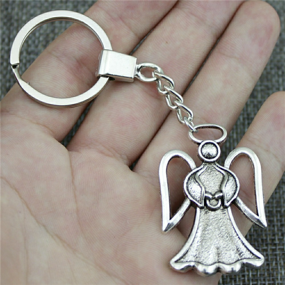 Men Jewelry Key Chain Party Gift Keychains Dropshipping Jewelry 45x29mm Angel Antique Silver Color Key Rings