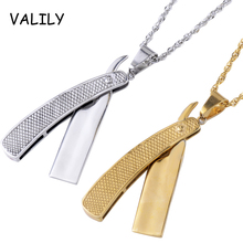 Valily Jewely personalized Barber Tools Razor Pendant Necklace stainless steel Fashion Cool Shaver Necklace Jewelry for man