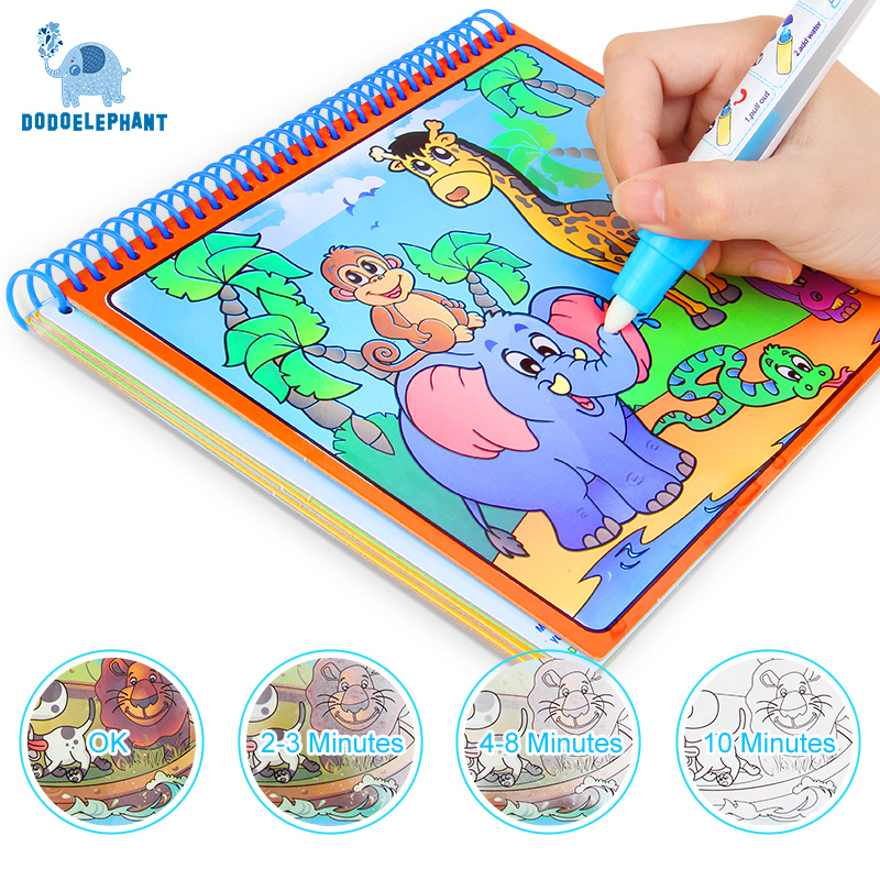 Magic Water Drawing Book Coloring Book Doodle With Magic Pen Painting Drawing Board Coloring Book For Kids Toys Toy NO BOX minions the doodle book
