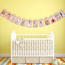 METABLE 1Pack Birthday Party Baby Photo Banner for 1-12 Month Prop with Bunting Decor Thickened Card Paper
