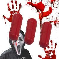 New 3Pcs Fake Blood Pill Vampire Capsules Horror Funny Halloween Joke Prank Trick mischief Prop for Halloween April Fool's Day