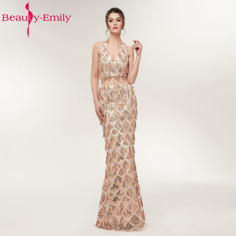 Beauty Emily Two Pieces Golden Mermaid Long Formal Evening Dresses 2018 Party Prom Girl Dresses Gowns