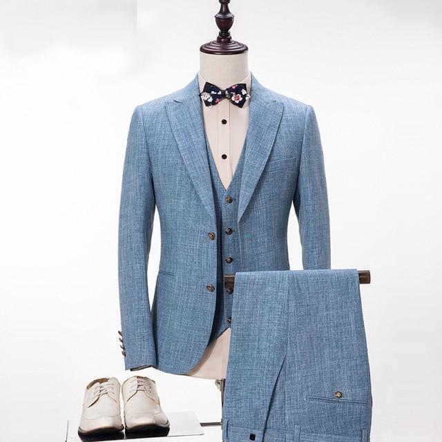 7a430e38d7f5d Los hombres por encargo trajes azul claro esmoquin traje slim fit fiesta  traje moda mens jpg