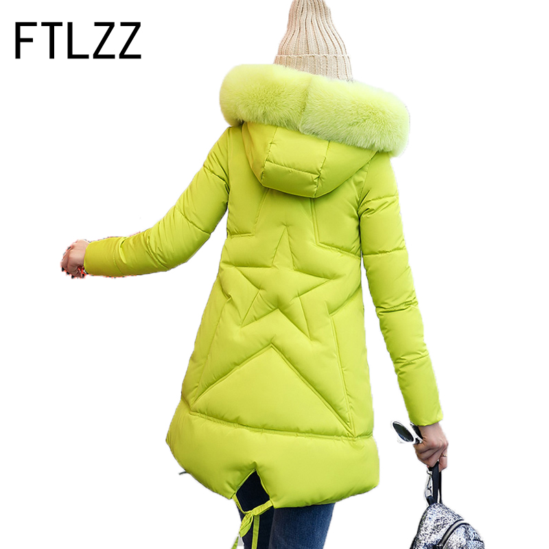 New Winter Parka Women Padded Jacket Fur Parka Cotton Padded Loose Long A-line Hooded Pregnant Women Can Wear Warm Thicker Coat 2015 winter new medium long nondetachable raccoon fur hooded thicken warm a line women cotton padded jacket coat outerwear wy342