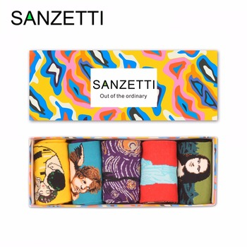 SANZETTI 5 pair/lot Gift Box Novelty Men's Combed Cotton Funny Socks Oil Painting Mona Lisa Angel Style Soft  Crew Tube Socks